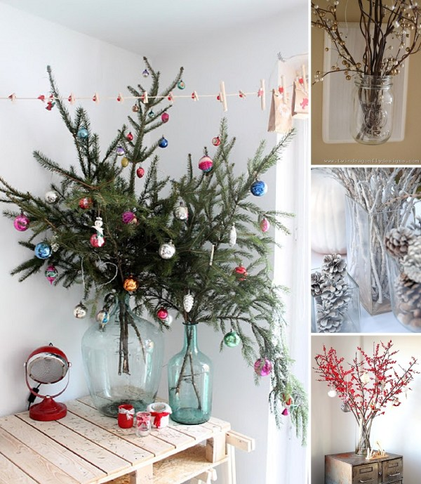 minimalist holiday decor - good base items as part of your regular decor that you can just customize for each holiday or season | winter branches, winter decor