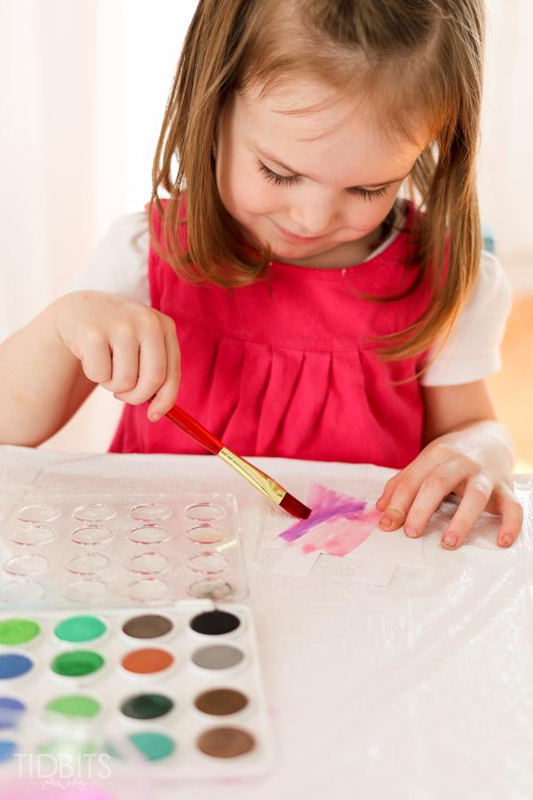 Spring Kids Craft Watercolor Banner Tidbits-3
