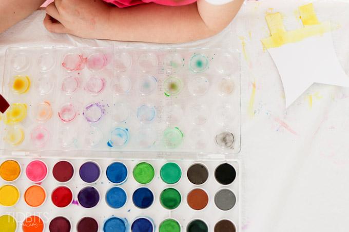 Spring Kids Craft Watercolor Banner Tidbits-6