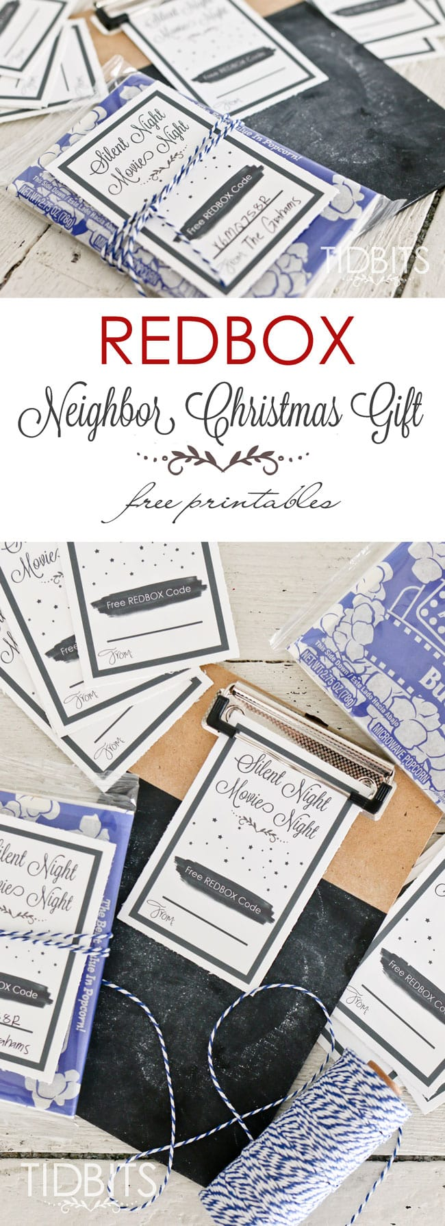 Redbox neighbor Christmas gift - Get your FREE printable, add a redbox code, attach it to a bag of popcorn - most practical and useful neighbor gift ever!