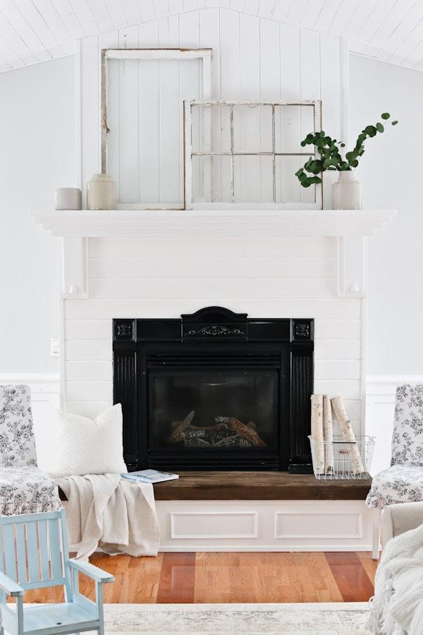 White Living Room and Mantel Decor
