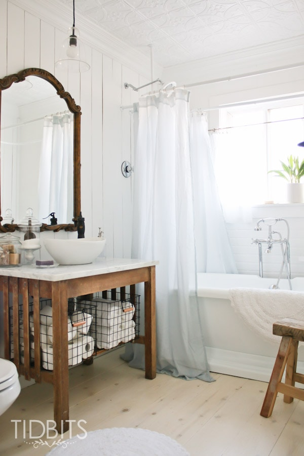 how to make a store bought window curtain work as a shower curtain