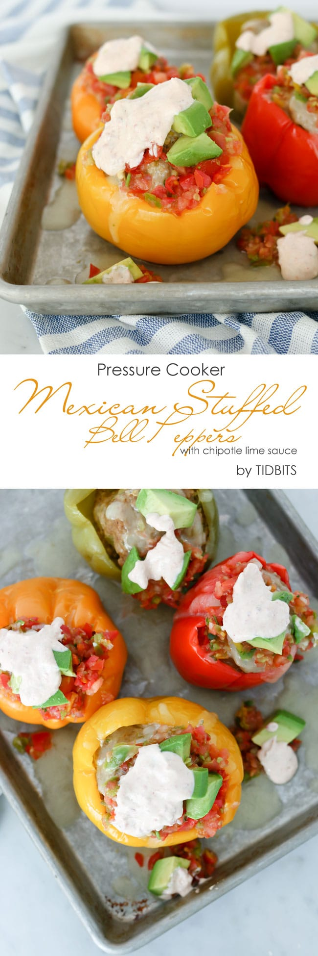 Pressure Cooker Mexican Stuffed Bell Pepper with chipotle lime sauce.