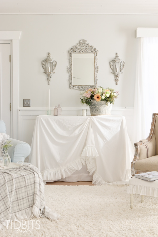 DIY Ruffle Tablecloth From Cotton Sheets   Turn Your Inexpensive Fold Up  Tables Into Lovely Accent