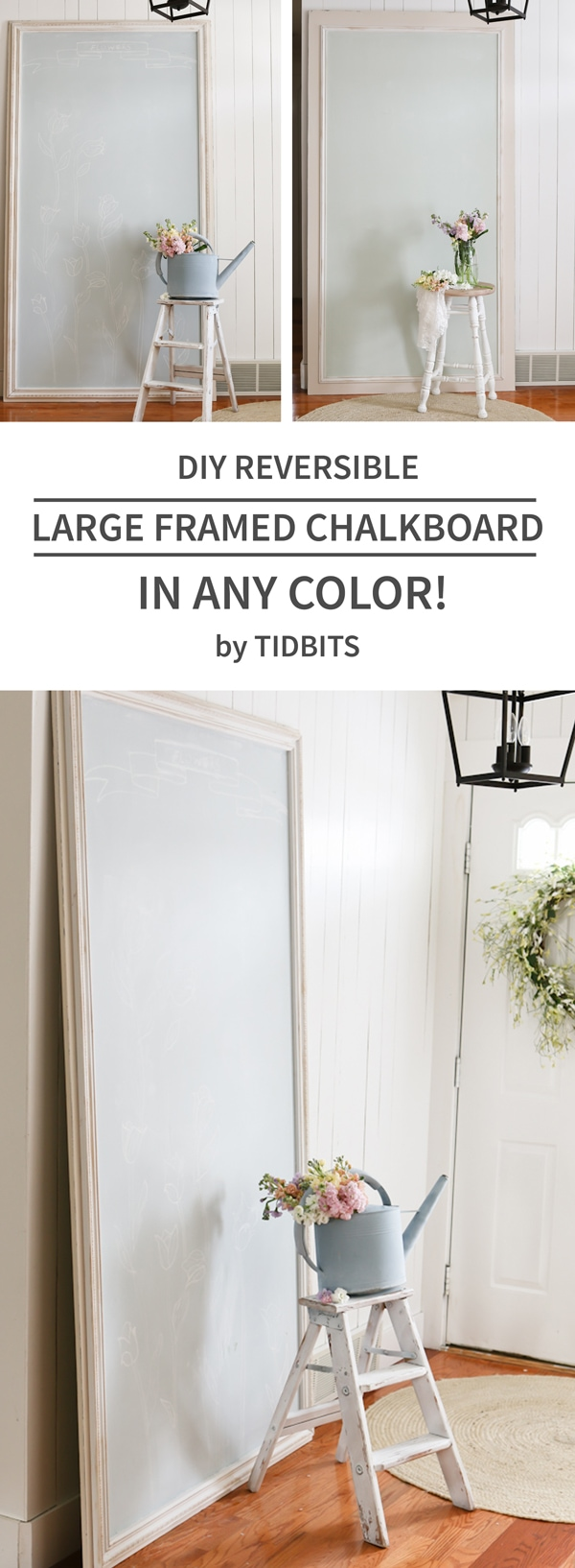 DIY reversible large framed chalkboard + learn how to make chalkboard paint in any color!