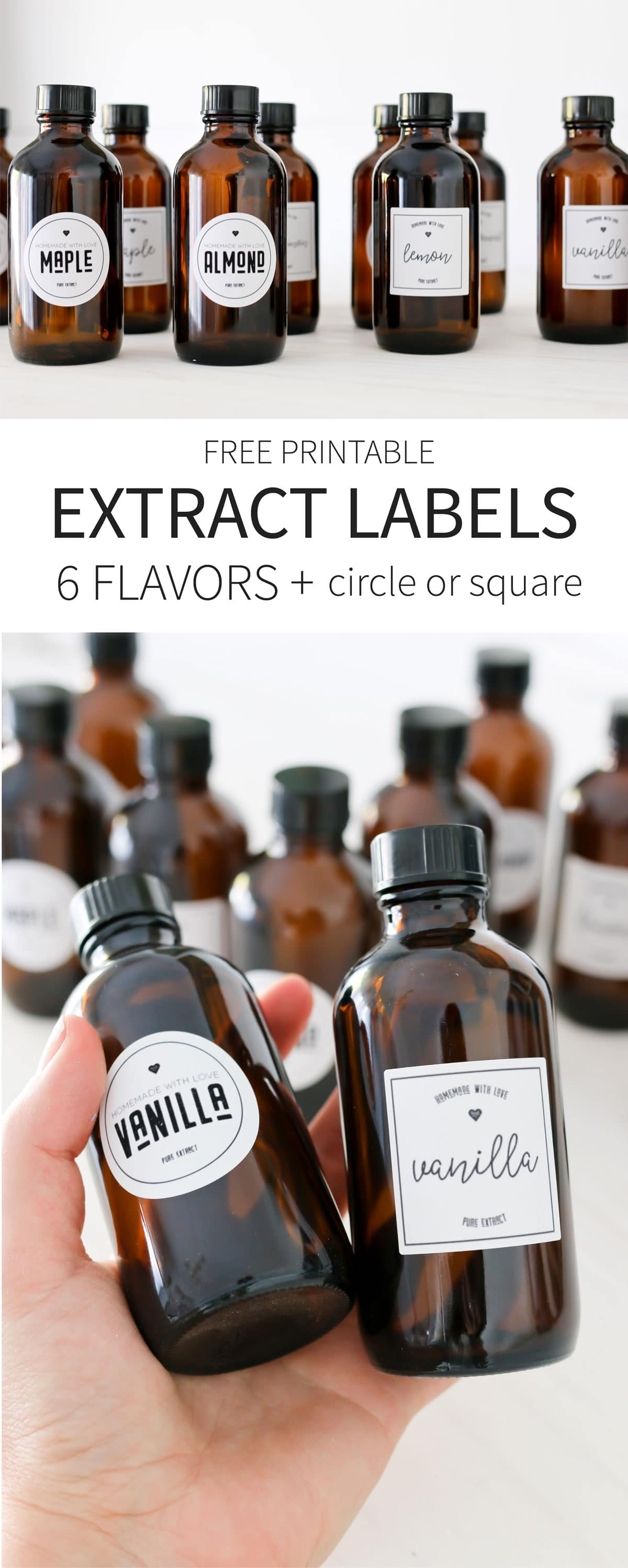 Free printable Vanilla Extract labels + 6 more extract flavors! Square or Circle available.