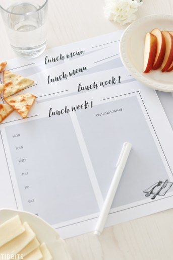 Lunch Menu Planning Printables