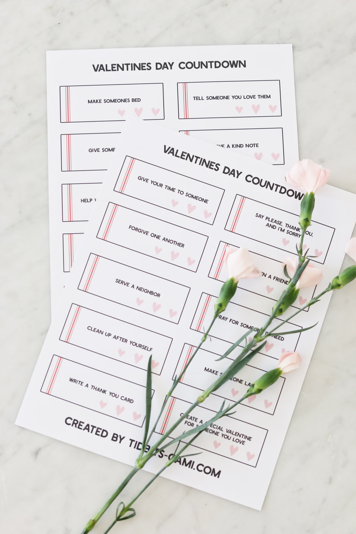 Valentines Day Countdown Printable | 14+ Acts of Love and Kindness