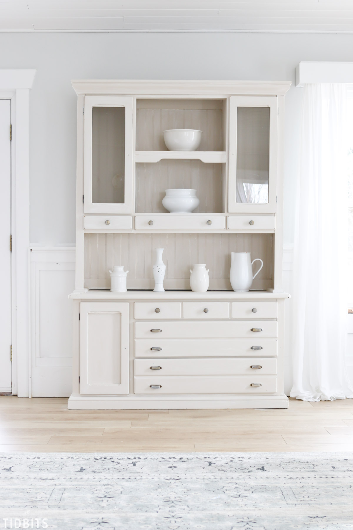 Painted Hutch Makeover with Chalk Paint and Milk Paint, by TIDBITS.