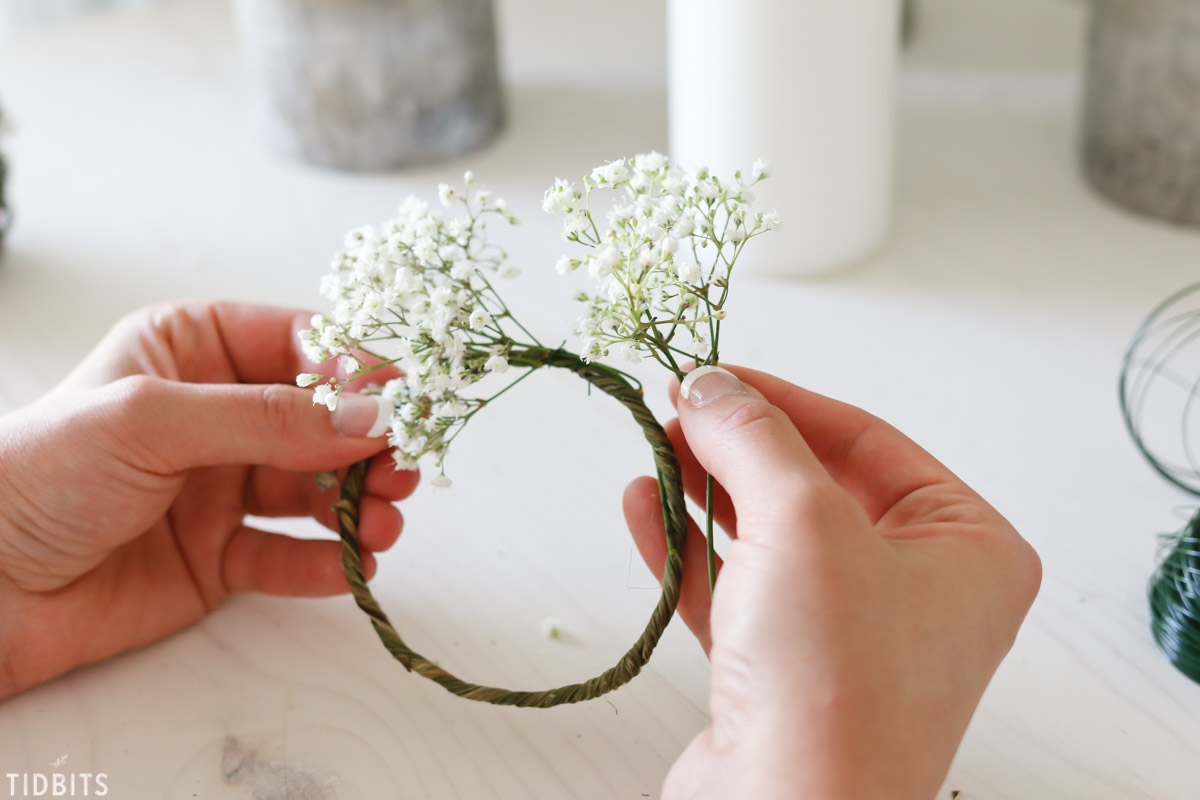 DIY Mini Candlestick Wreaths or Candle Rings.