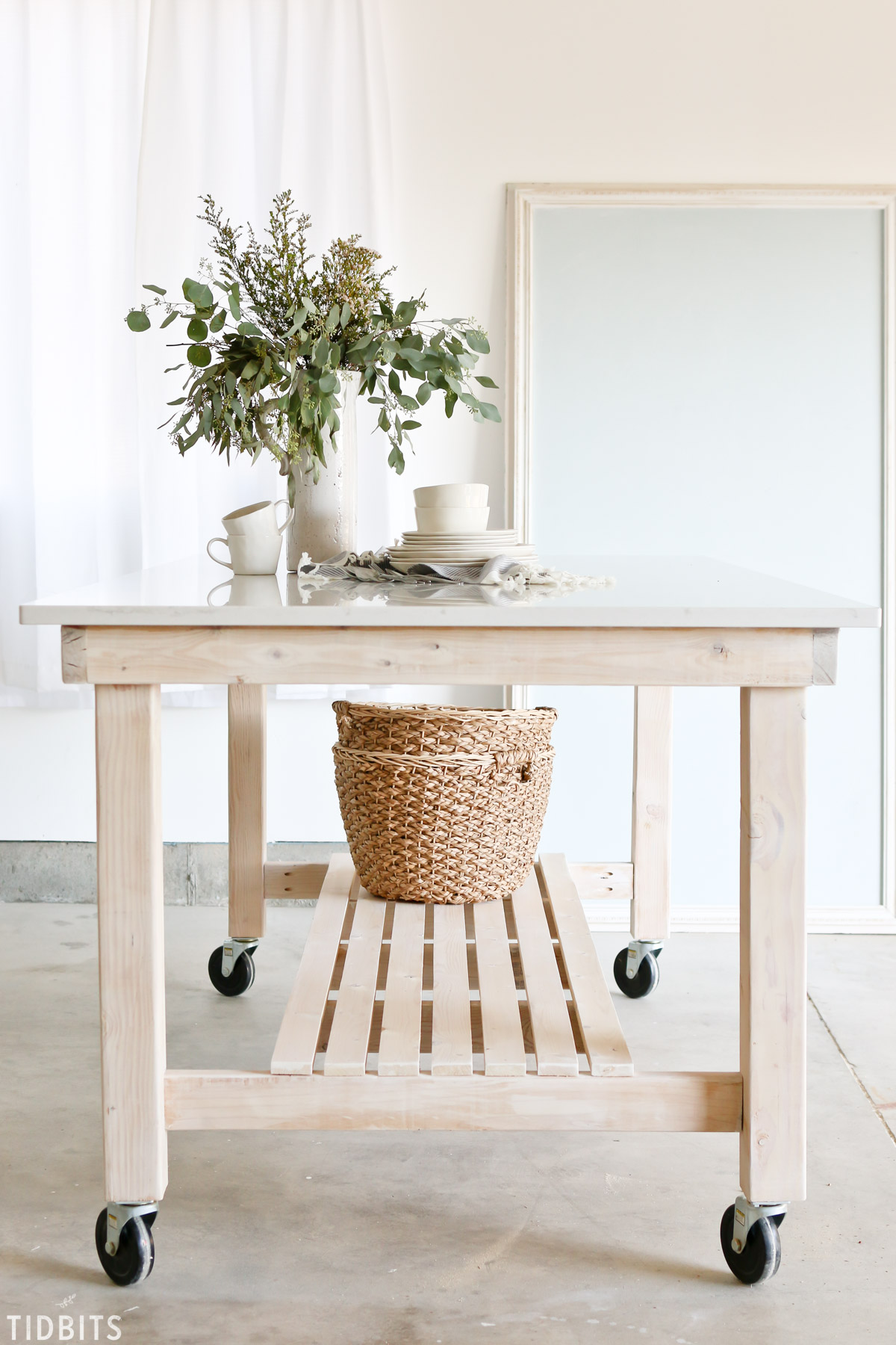 diy rolling kitchen island with pull out table work tidbits quartz countertop or