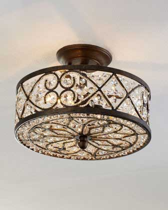 Horchow Woven Crystal Ceiling Fixture