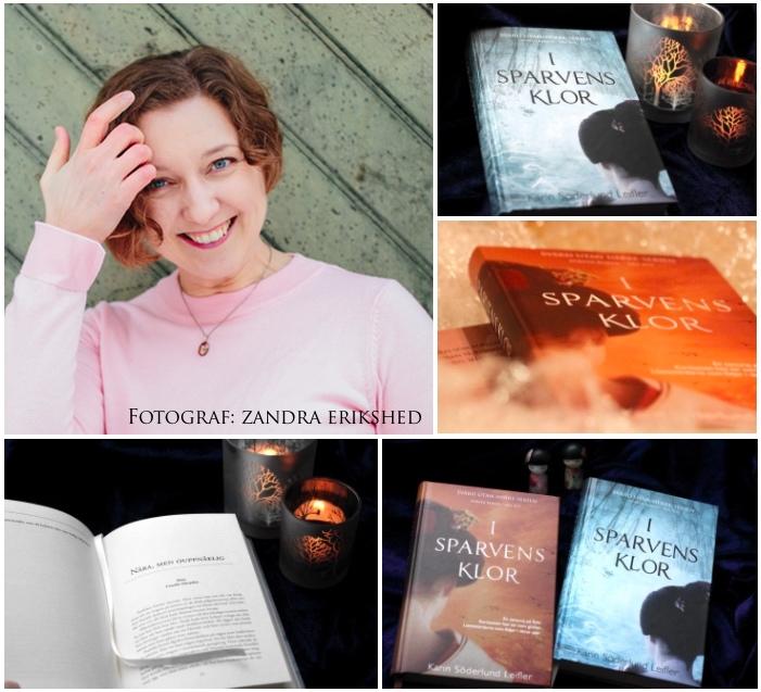 collage med Karin Söderlund Leifler och böckerna i olika format