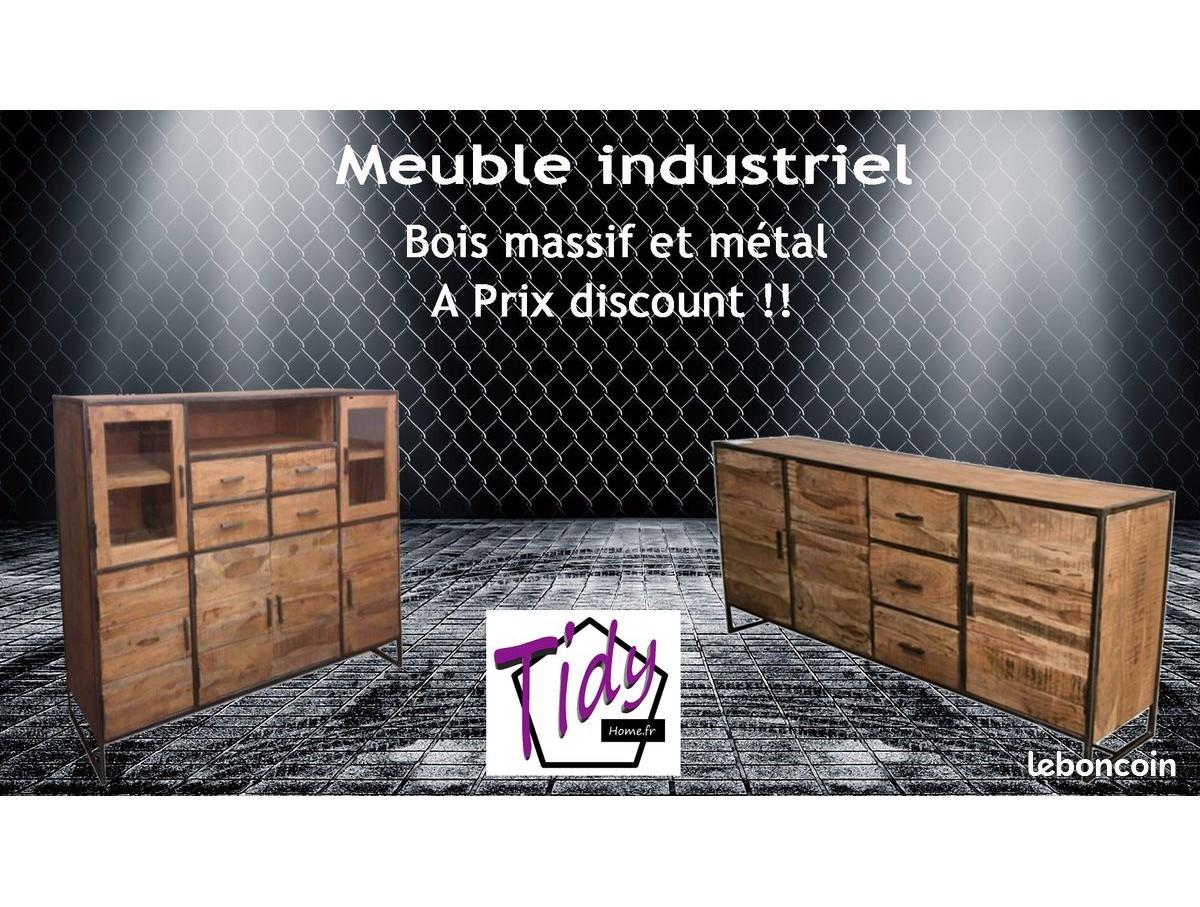 meuble industriel bois massif et metal