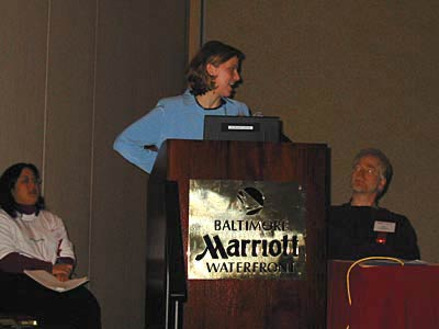 photo: Samantha Bailey speaking at IA Summit Baltimore