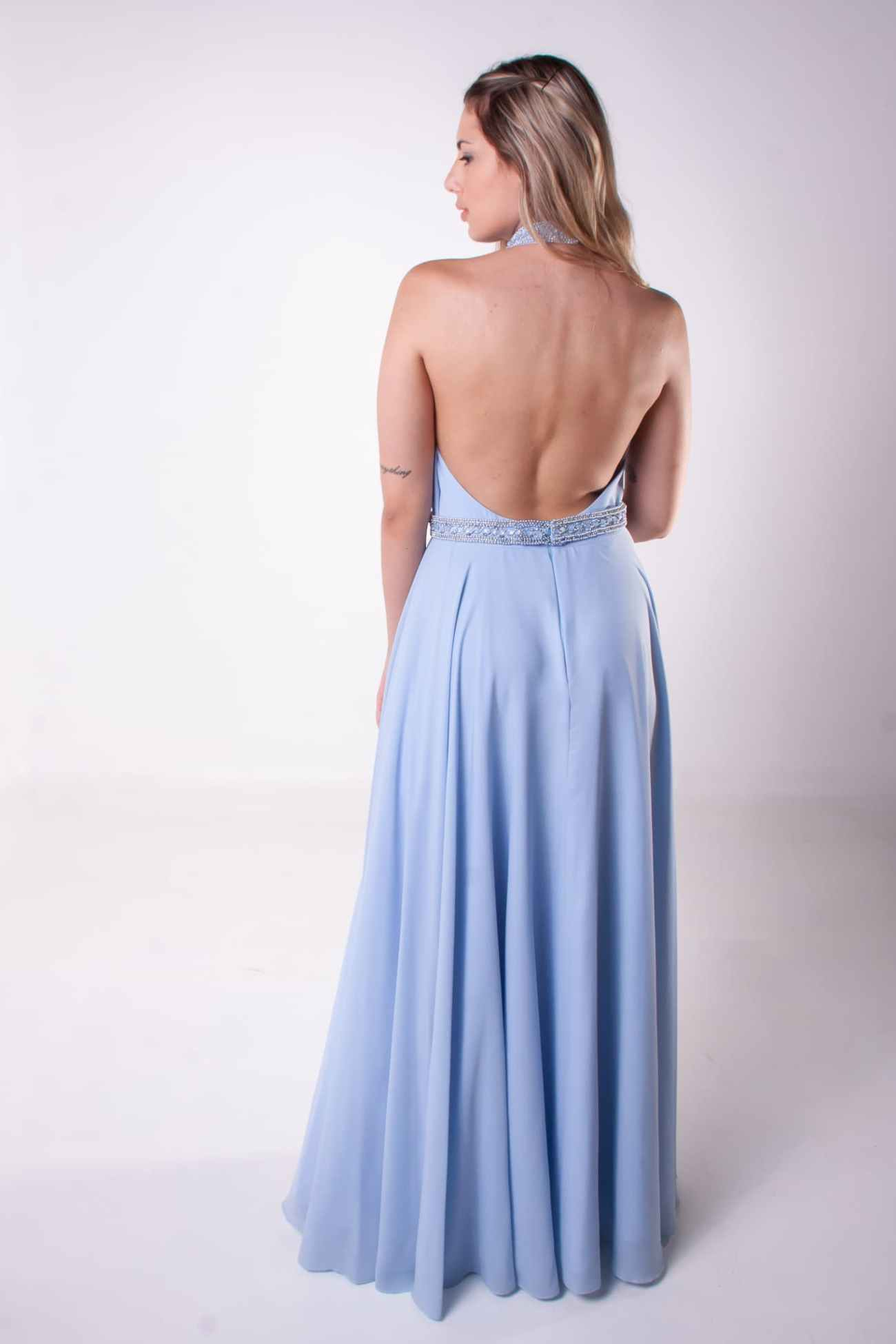 51 - Vestido azul serenity open back com fenda