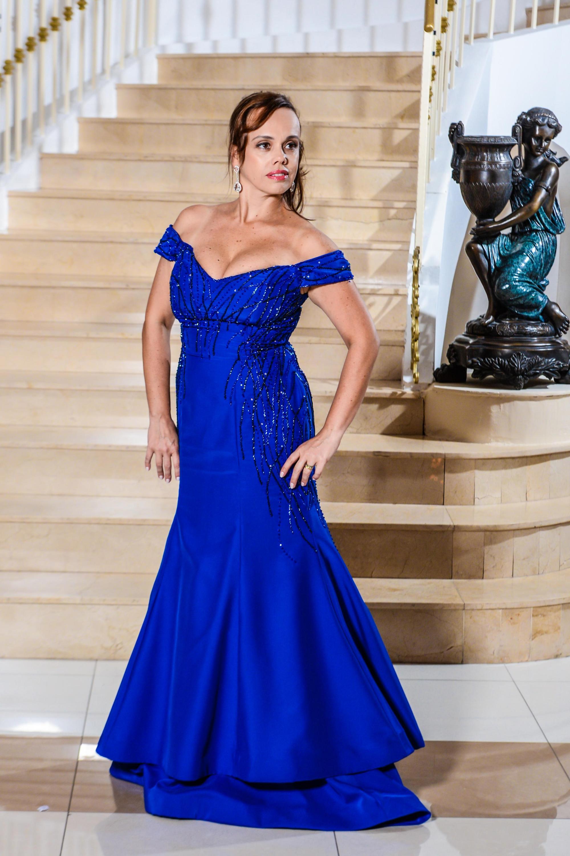 116 - Vestido azul royal ombro a ombro