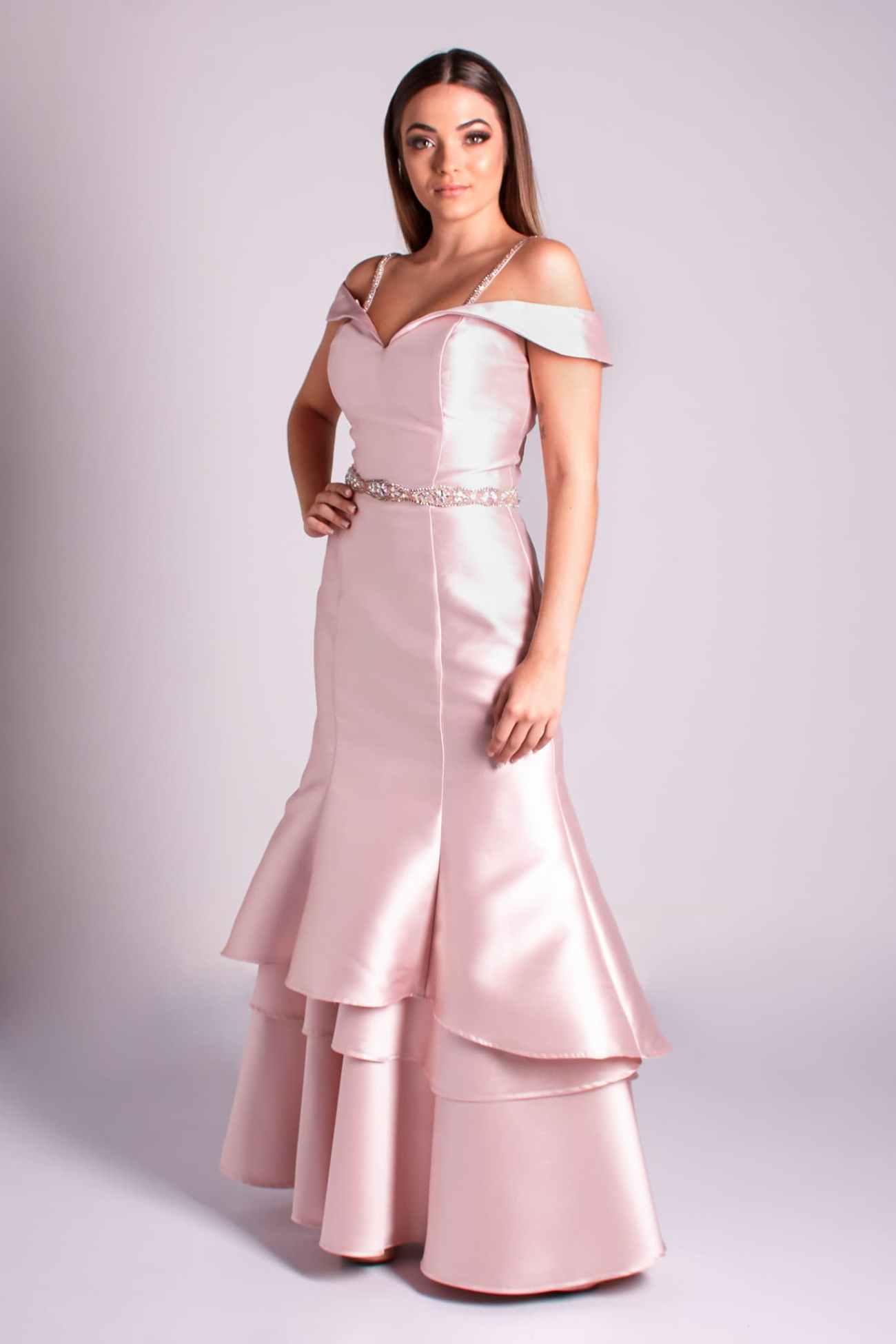 3 - vestido rosê ombro a ombro sereia com saia em camadas