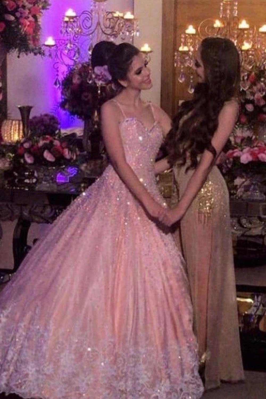 49 - Vestido de valsa rosê com renda e cristais Swarovski