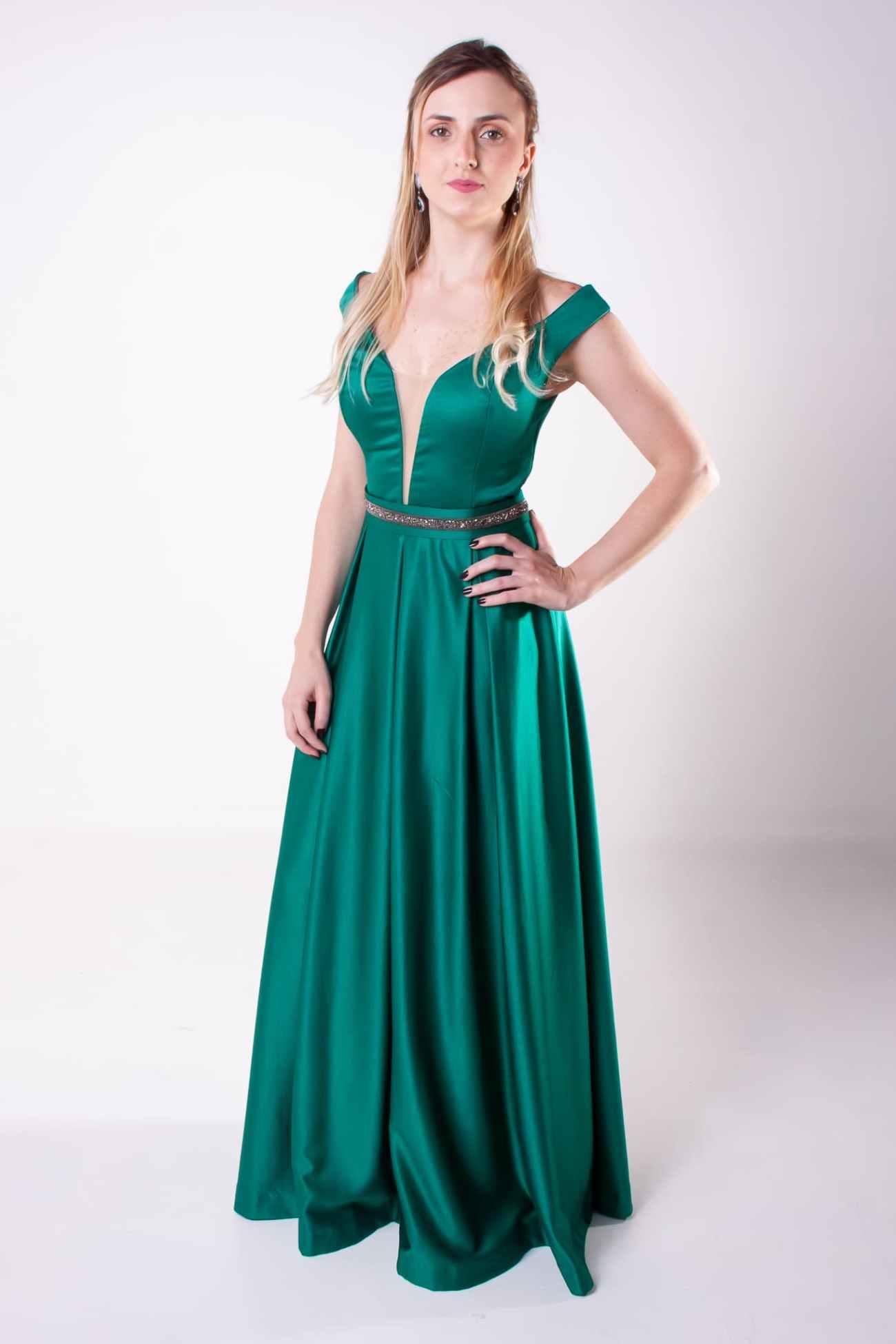 67 - Vestido verde com cintinho