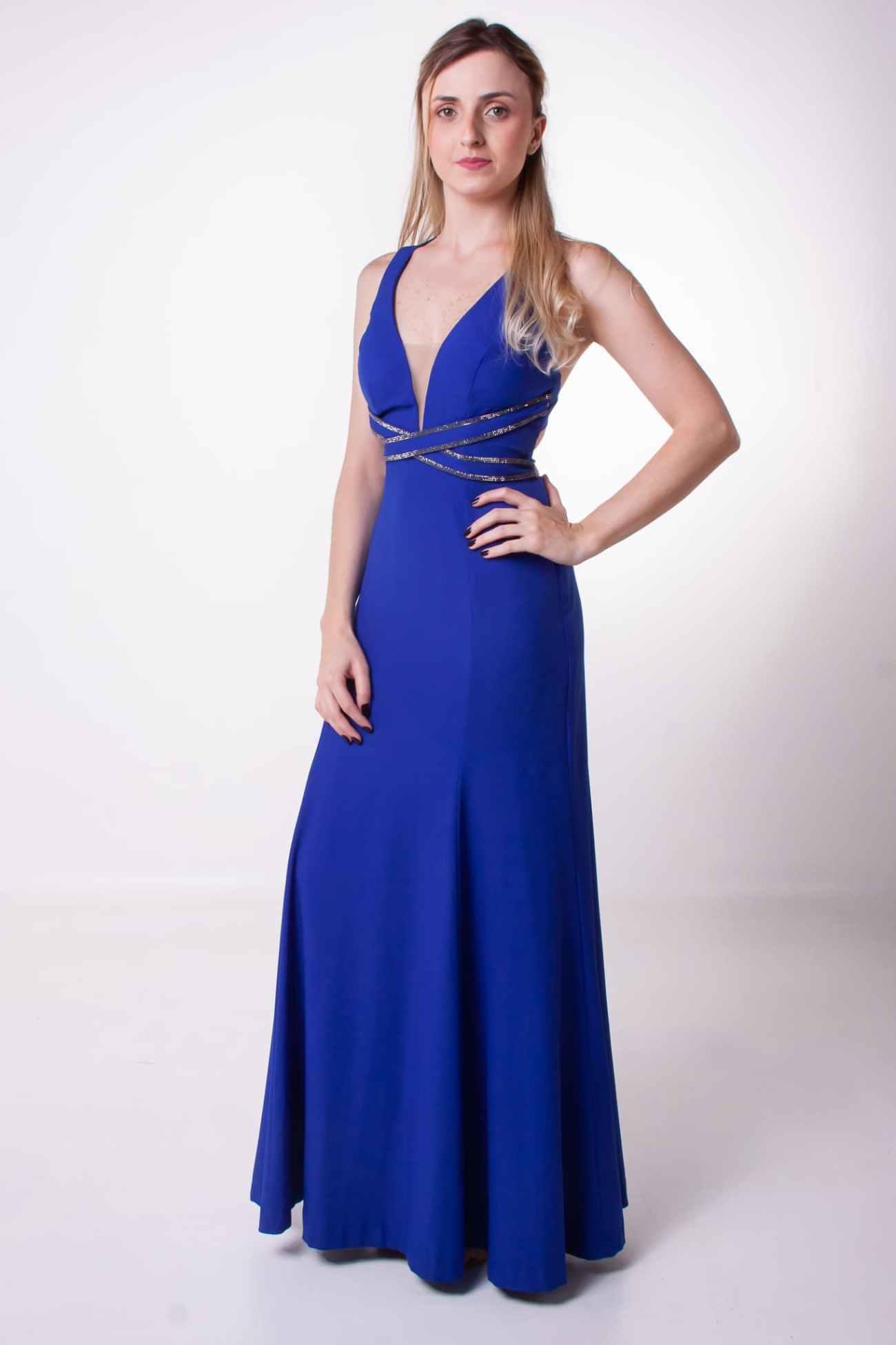 69 - Vestido azul royal com detalhe na cintura e nas costas