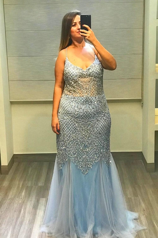 46 - Vestido sereia de tule azul serenity bordado