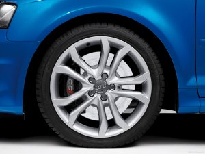 picture of a standard alloy wheel fitted to an Audi A3