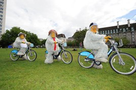 The Wombles on their 'Boris Bikes'