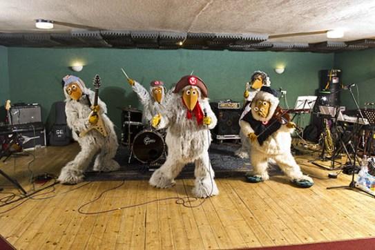 The Wombles rehearsing for Glastonbury Festival