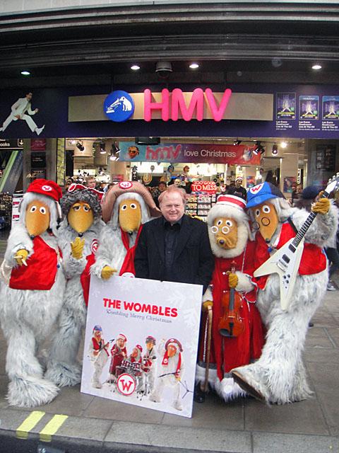 Mike Batt with the Wombles outside HMV