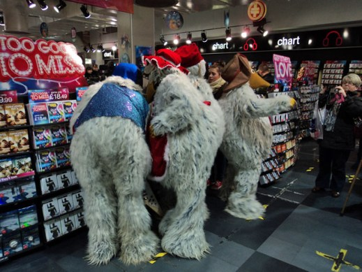 The Wombles look at CDs in HMV