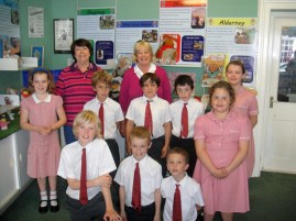 The children of Ormer House school who made the bunker window display