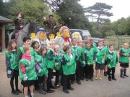 Trafalgar Junior School line up with the Wombles