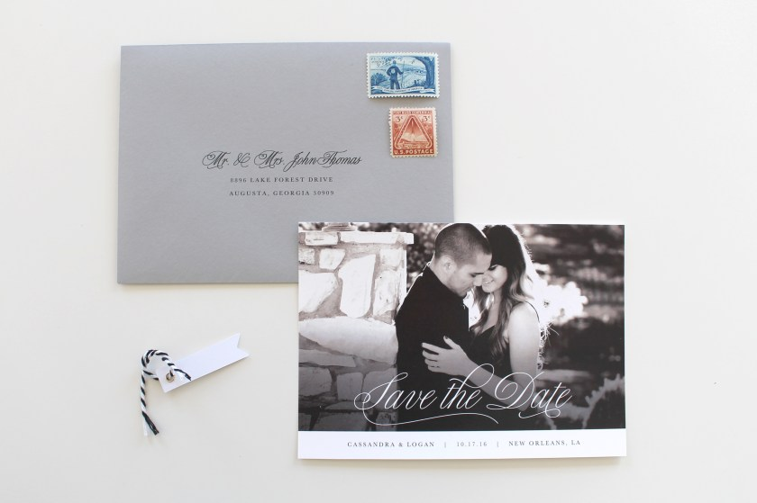 Custom Wedding Invitations Charlotte Black And White Photo Save The Date