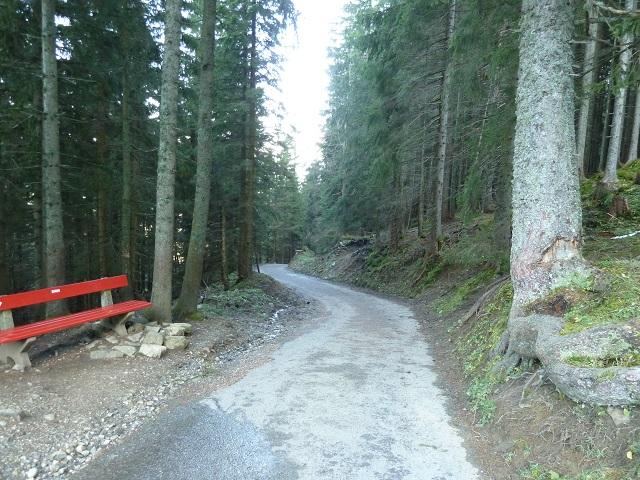 Straße vom Sportheim Böck zur Mittelstation der Alpspitzbahn