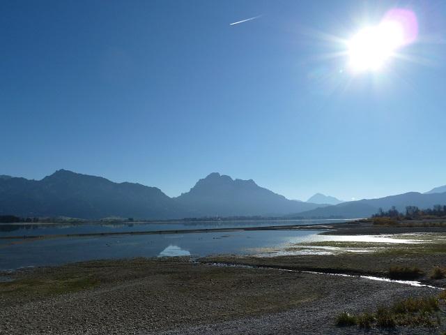 Forggensee im November - wenig Wasser