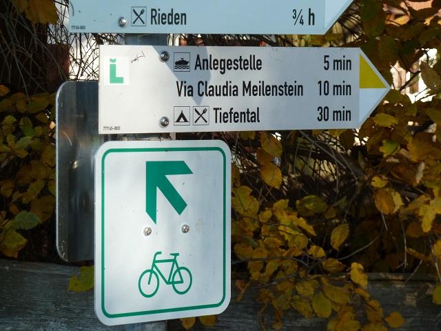 Radwegbeschilderung zur Radtour rund um den Forggensee