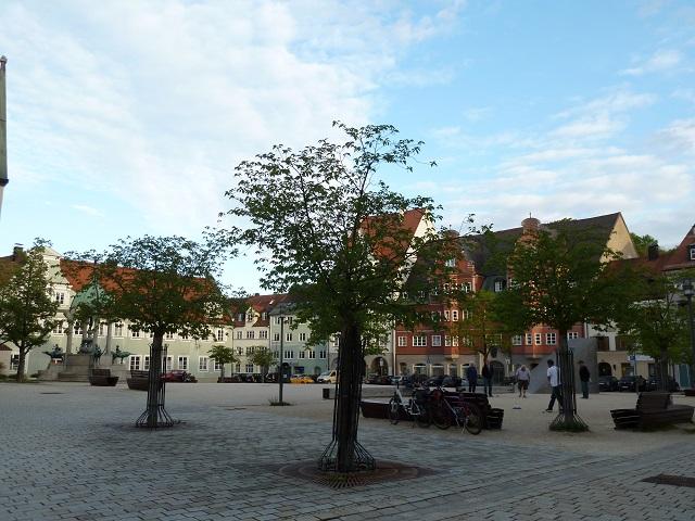 Der St. Mang-Platz in Kempten im Abendlicht