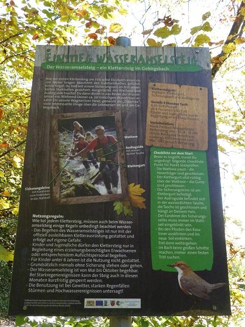 Infotafel zum Wasseramselsteig am Abenteuer Galetschbach