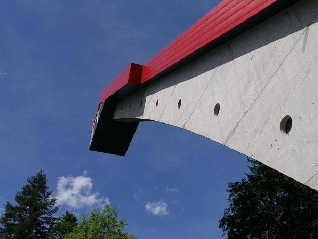 Der Schanzenturm der Heini-Klopfer-Schanze in Oberstdorf