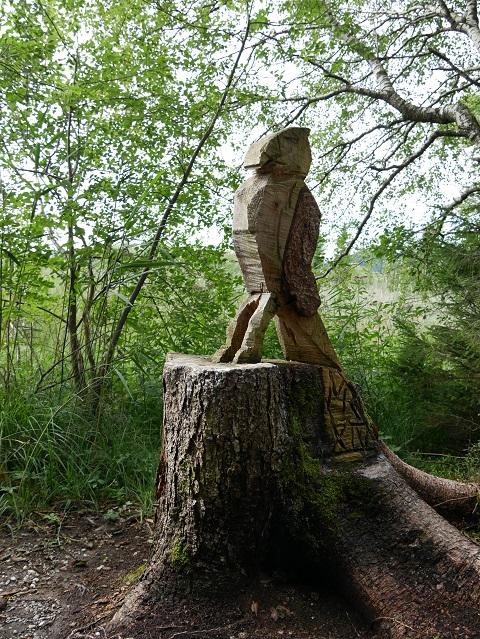 Holzpapagei im Wald am Hopfensee