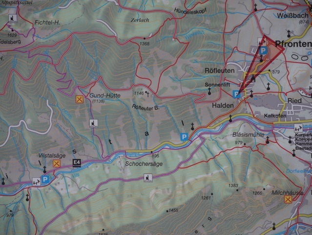 Der Weg von Pfronten-Röfleuten zur Gundhütte - Karte