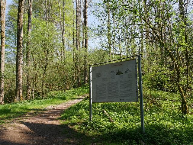 Infotafel am Fuß der Burgruine Wolkenberg