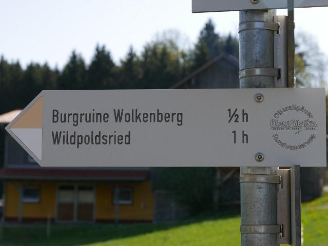 Wegweiser zur Burgruine Wolkenberg