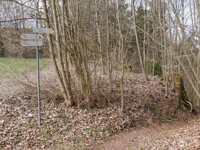 Wegweiser zur Wanderung um den Illerdurchbruch bei Altusried