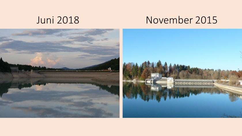 Forggensee-Staumauer bei Roßhaupten 2018 im Vergleich zu 2015