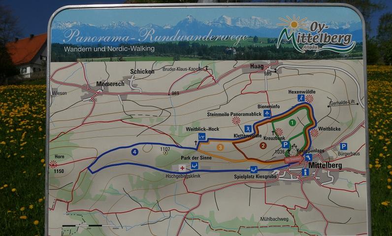 Karte zum Panorama-Rundwanderweg in Oy-Mittelberg