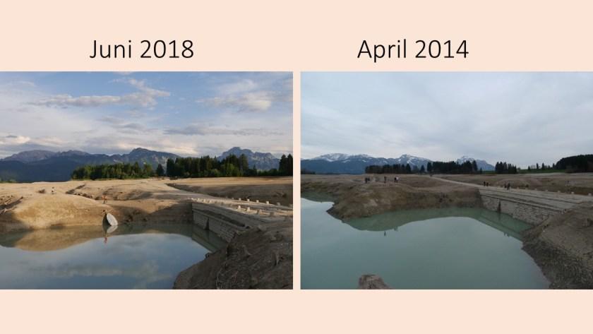die alte Tiefentalbrücke im Forggensee 2018 und 2014 im Vergleich