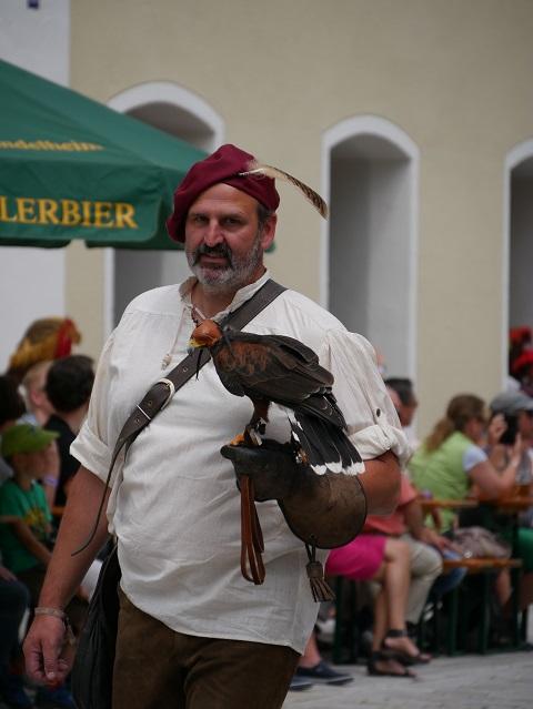 Falkner mit echtem Falken auf dem Frundsbergfest Mindelheim 2018