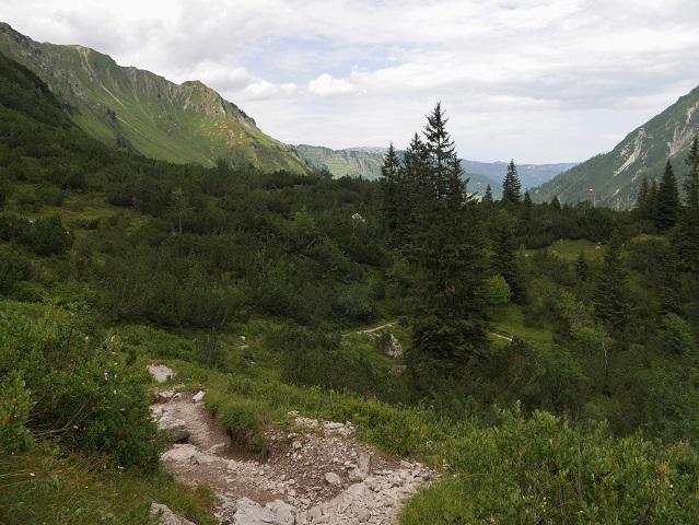 Abstieg von der Oberen Gemstelalpe ins Gemsteltal
